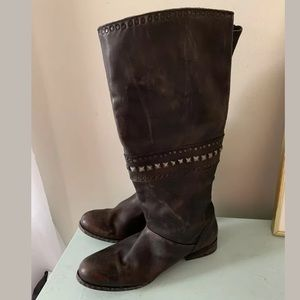 Free People Tall Brown Boots Studded embellished